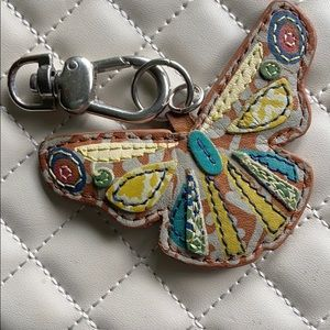 FOSSIL LEATHER BUTTERFLY KEY FOB